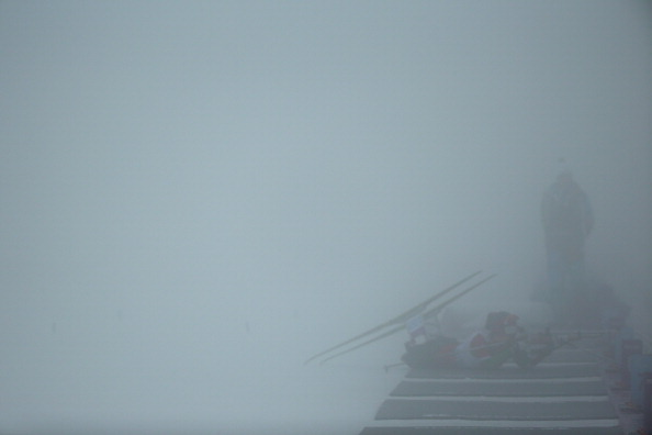 The shooting range at the biathlon centre has been shrouded in fog ©Getty Images