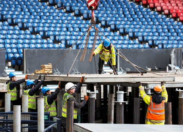 The surface of Hampden Park has been raised by almost two metres using specially designed stilts ©Glasgow 2014