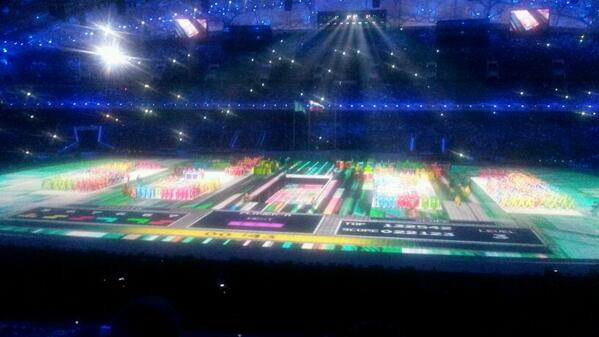The video game Tetris on a stadium size scale ©Twitter