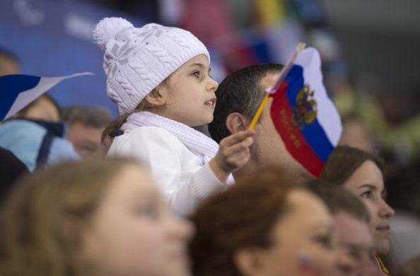 There were fans of all ages enjoying Russia's ice sledge hockey success earlier ©Getty Images