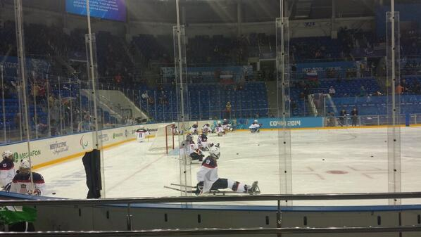 US players warming up ahead of the ice sledge hockey final ©Twitter