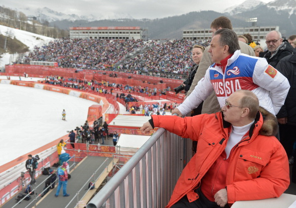 Vladimir Putin watches the super-G with Russia's Sports Minister Vitaly Mutko ©AFP/Ria Novosti/Getty Images