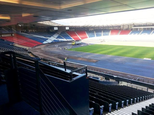 Work continues on the laying of the track at Hampden Park which is scheduled to be completed by mid-May ©ITG