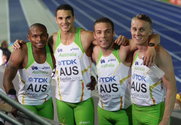Anthony Alozie (left) with sprint relay team-mates Josh Ross (second left), Aaron Rouge-Serret (second right) and Matt Davies at the 2009 IAAF World Championships in Berlin ©Getty Images