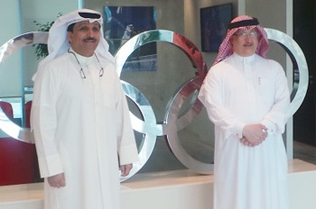 Abdulrahman Askar (right) and Haider Farman met at the OCA premises in Kuwait ©OCA
