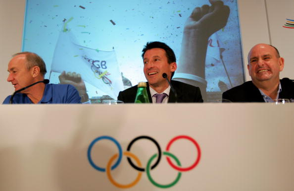 Alan Pascoe (left), pictured with Sebastian Coe (centre) during London's successful bid to host the London 2012 Olympics and Paralympics, wants to Government to address how sport is funded below the elite level ©Getty Images