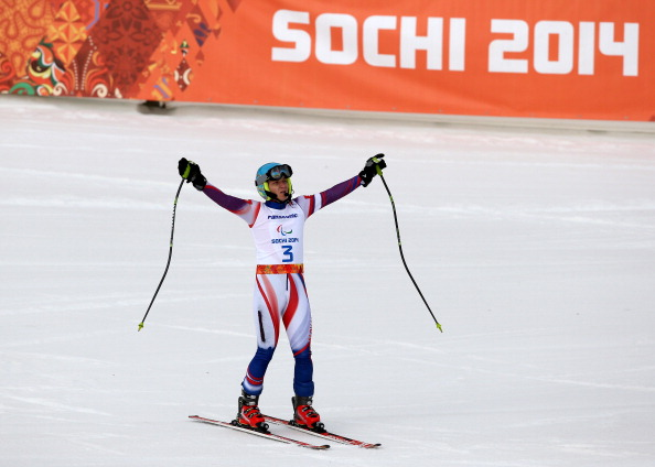 Jakub Krako celebrates his victory in the super-G for visually impaired, the fourth gold medal of his Paralympic career ©Getty Images
