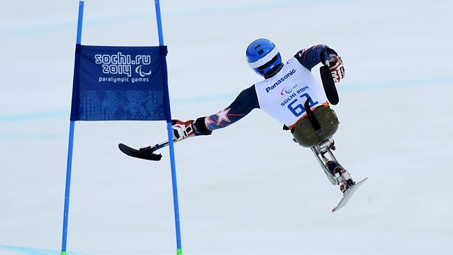 American sit-skier Tyler Walker was airlifted off the course following a crash yesterday ©AFP/Getty Images