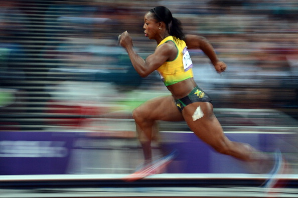 Veronica Campbell Brown in full flight during the London 2012 Games ©AFP/Getty Images