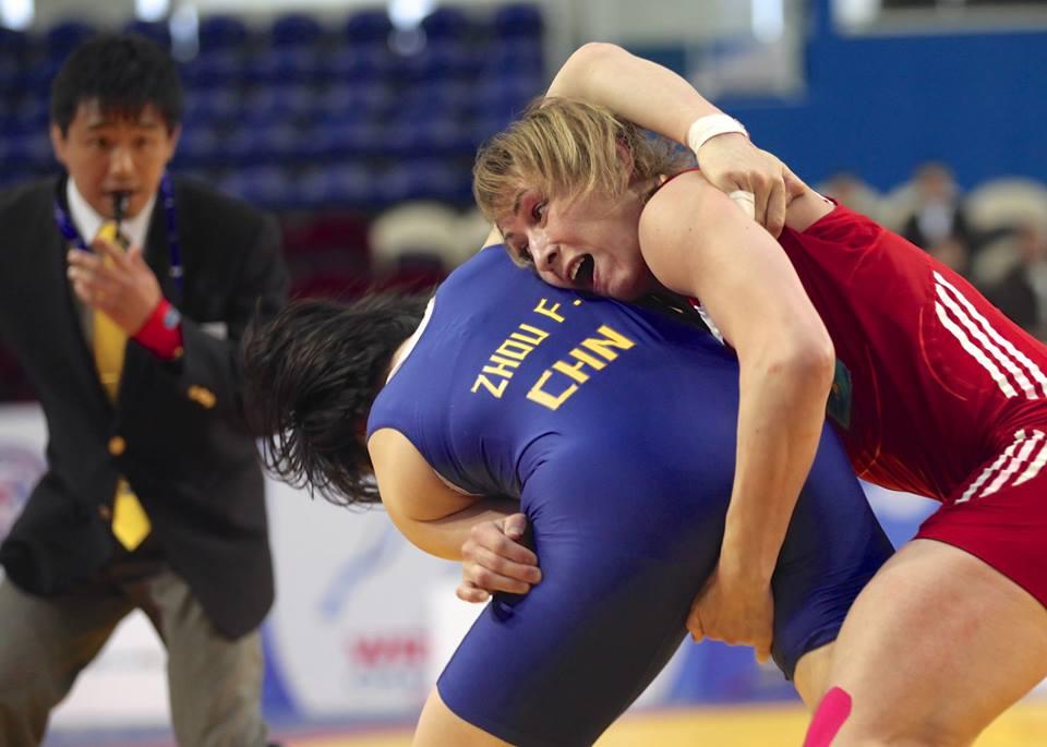 A late winner by Guzel Manyurova over China's Feng Zhou sealed on of two Kazakhstani golds on day four of the FILA Asian Championships ©FILA