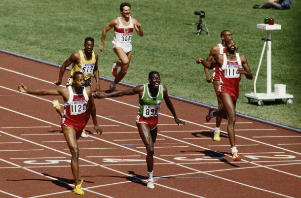 Amadou Dia Ba en route to a silver medal over 400m hurdles behind Andre Phillips at Seaul 1988  ©Getty Images