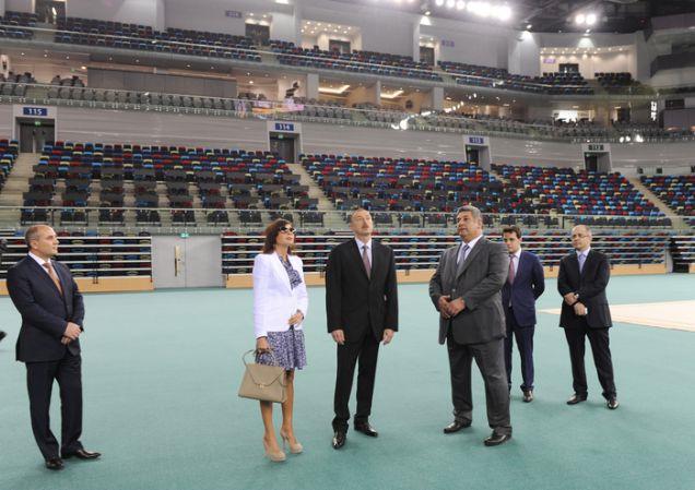 Azerbaijani President Ilham Aliyev and his wife Mehriban, the head of Baku 2015, inspect the new National Gymnastics Arena, along with Youth and Sports Minister Azad Rahimov ©Baku 2015