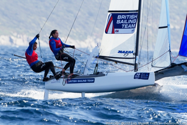 Ben Saxton and Hannah Diamond dominated in Hyères to take charge of the Nacra 17 class ©RYA/thomtouw.com