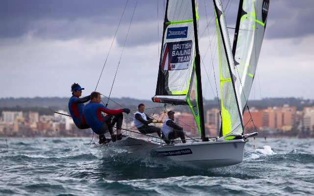 Britain's Dylan Fletcher and Alain Sign made a solid start in Hyères picking up a race win to sit in overall second after day one ©RYA