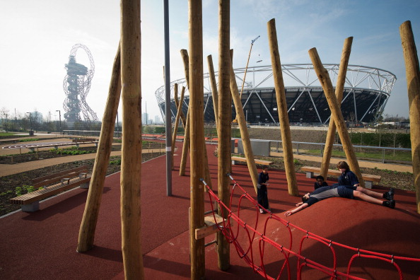 Children are given the opportunity to test out the new playground in the soon to be opened region of the Queen Elizabeth Olympic Park ©Getty Images
