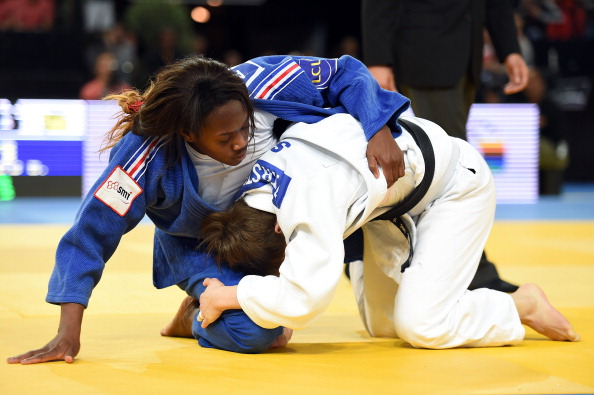 Clarisse Agbegnenou delighted the home crowds as she retained her women's under 63kg title with a win over Tina Trstenjak ©AFP/Getty Images