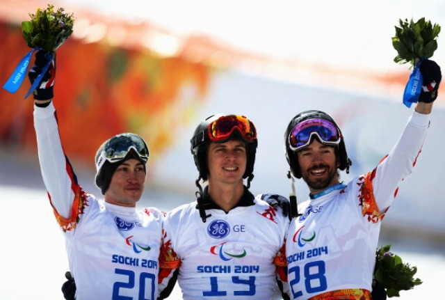 Evan Strong (centre) finished clear of Mike Shea (left) and Keith Gabel just as he had done in Sochi last month ©Getty Images