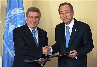 IOC President Thomas Bach and UN Secretary-General Ban Ki-moon have promised to use sport to promote peace and equality ©AFP/Getty Images