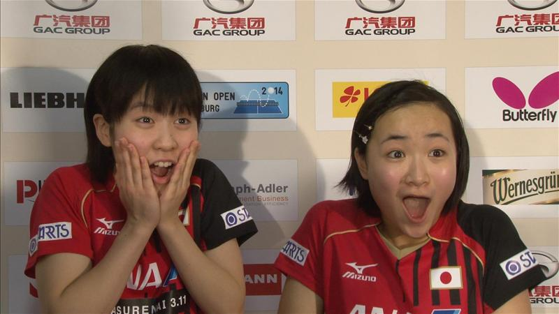 Japanese 13-year-olds Miu Hirano and Mima Ito have become the youngest World Tour gold medallist following victory in the women's doubles at the German Open ©ITTF/Action Images Livepic