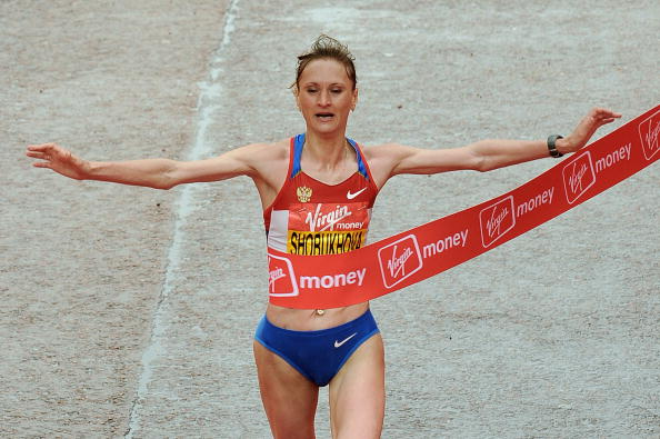 Liliya Shobukhova won the London Marathon in 2010, but is set to lose that title after being handed a doping ban ©AFP/Getty Images