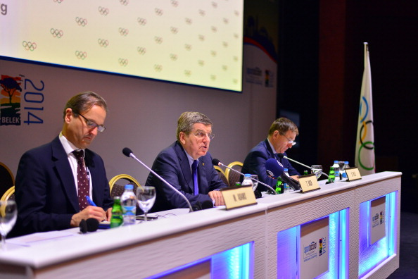 Mark Adams and Gilbert Felli pictured either side of IOC President Thomas Bach when providing reassurances about Rio 2016 earlier this month ©AFP/Getty Images