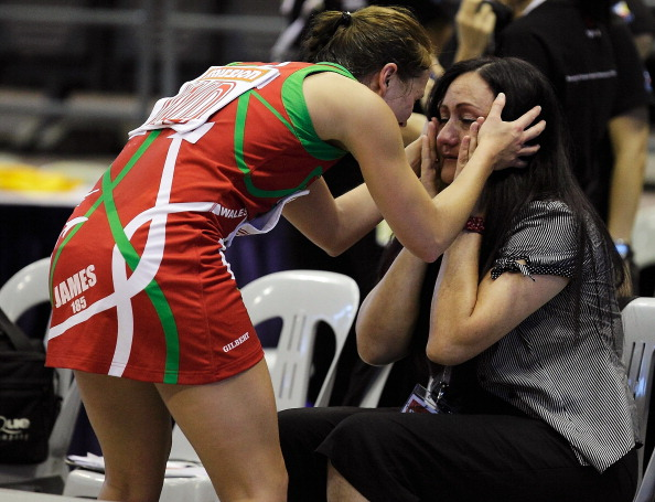 Melissa Hyndman with Welsh team member Nichola James during the 2011 World Indoor Championships ©Getty Images