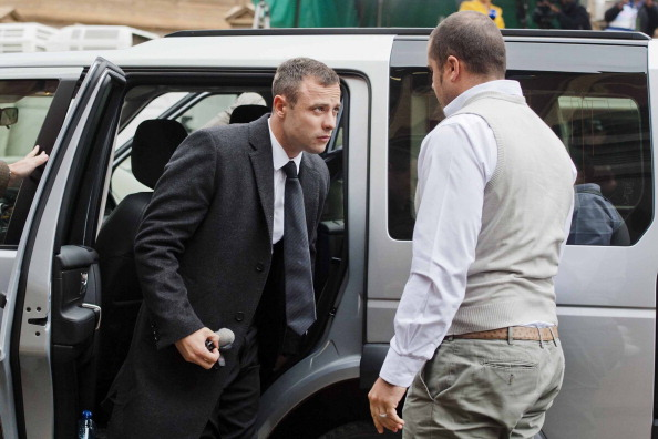 Oscar Pistorius arrives for the start of a new week at his murder trial, which began with his evidence coming under close scrutiny ©Getty Images