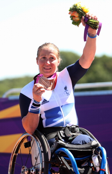 Rachel Morris celebrates her bronze medal in the road race at London 2012 ©Getty Images