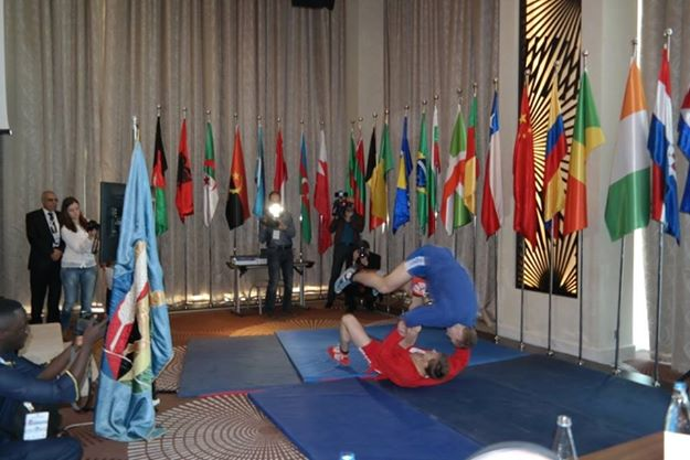 A demonstration of sambo was held during the AIPS Congress in Baku ©ITG