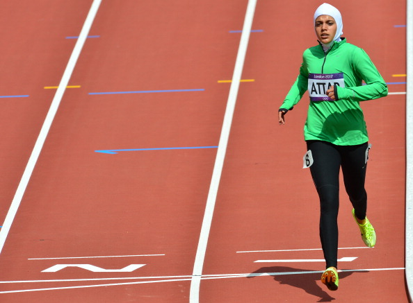 Sarah Attar was one of two Saudi Arabian women to compete at the London 2012 Olympic Games, and thus set a trend for women to compete in sport ©AFP/Getty Images