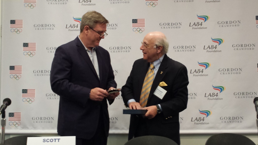 Scott Blackmun pictured talking to International Olympic Academy director Dionyssis Gangas at the 2014 US Olympic Academy ©USOC