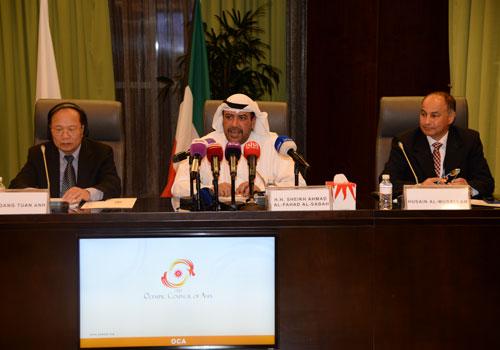 Sheikh Ahmad al Fahad Al Sabah speaking alongside Vietnamese Sports, Culture and Tourism Minister Hoang Tuan Anh following the meeting ©OCA