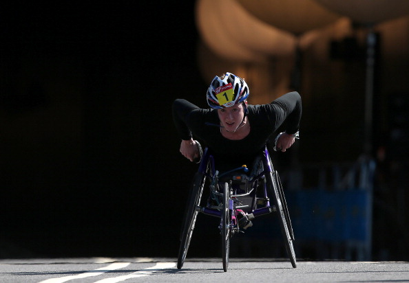 Tatyana McFadden dominated the women's race dropping the field early on to finish over a minute and a half ahead of closest rival Manuela Schär ©Getty Images