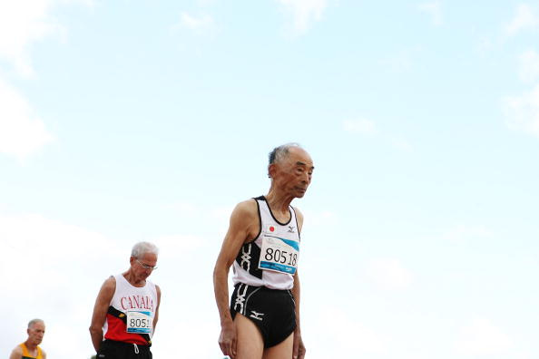 The World Masters Games sees competitors as old as Japan's Inoue Takashi who was 80 when he took to the start line of the 200m in Sydney in 2009© Craig Golding/Getty Images