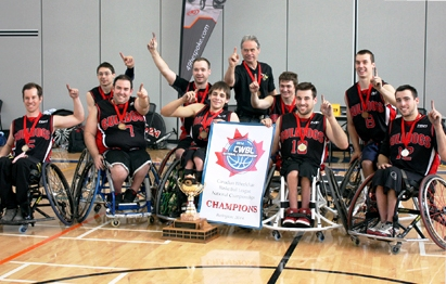 The victorious Bulldogs of Quebec celebrate their Canadian Championship win in Burlington ©Wheelchair Basketball Canada