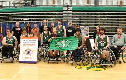 The victorious Saskatchewan squad celebrate their win over Quebec in the Canadian Junior Wheelchair Basketball Championships ©Wheelchair Basketball Canada