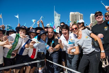 There was a party atmosphere on the beach as children joined Games organisers and Government representatives for the celebration ©Gold Coast 2018
