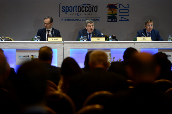 Thomas Bach and Gilbert Felli fielded many questions on Rio 2016 during the SportAccord Convention last week ©Anadolu Agency/Getty Images