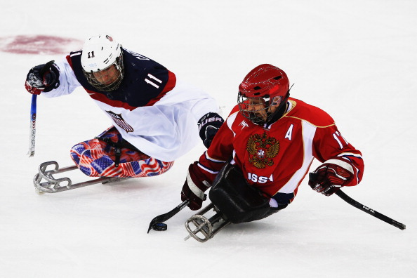 Vadim Selyukin (right) was responsible for helping put together an ice sledge hockey programme in Russia ©Getty Images