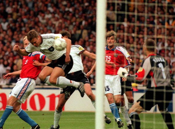 Wembley Stadium, which hosted Germany's Euro 1996 final triumph against Czech Republic, could be in line to stage the final again in 2020 in its rebuilt stadium ©AFP/Getty Images