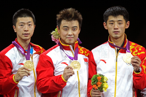 China's winning team at the London 2012 Games - from left, Ma Long, Wang Hao and double world champion Zhang Jike ©Getty Images