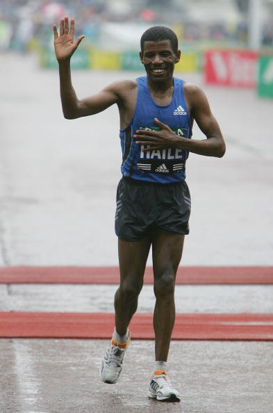Haile Gebrselassie's characteristic dazzling smile is a little dim after he finishes the 2006 London Marathon in ninth place after what he described as the worst race of his career ©Getty Images