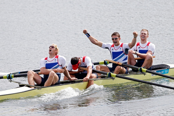 Alex Gregory, pictured far right in the men's four which won gold at London 2012, won the final trials in partnership with Moe Sbihi, and ahead of the pairing of George Nash and Andy Triggs Hodge (pictured far left) ©Getty Images
