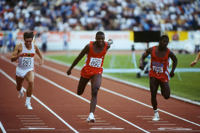 American Carl Lewis won ten World Championship medals, eight of them gold, including three at the first event in Helsinki 1983 ©Getty Images