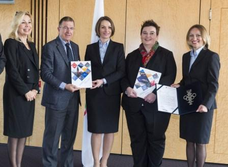 Jagna Marczułajtis-Walczak (centre) joined colleagues to present the Kraków  2022 Applicant File to the International Olympic Committee last month ©Krakow 2022