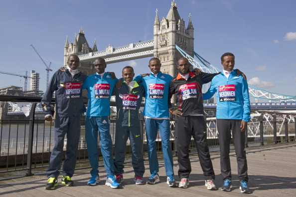 From left, Stephen Kiprotich, Emmanuel Mutai, Tsegaye Kebede, Geoffrey Mutai, Ibrahiim Jeilan and Tsegaye Mekonnen, who make up arguably the London Marathon's strongest ever field ©AFP/Getty Images