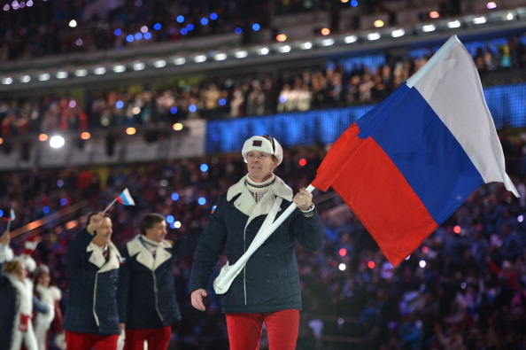 Alexander Zubkov also carried the Russian flag at the Opening Ceremony of Sochi 2014 ©AFP/Getty Images
