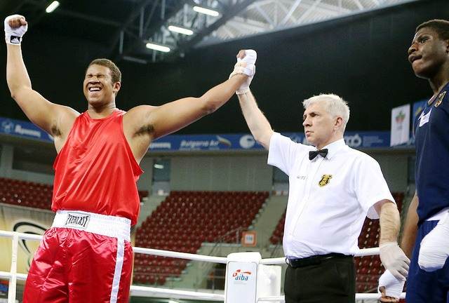 American Daramni Rock celebrates his super heavyweight world title win in Sofia where the US claimed three gold medals ©AIBA