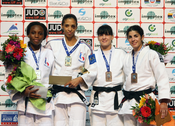 France's Annabelle Euranie got the better of compatriot Priscilla Gneto in the women's under 52kg competition ©IJF