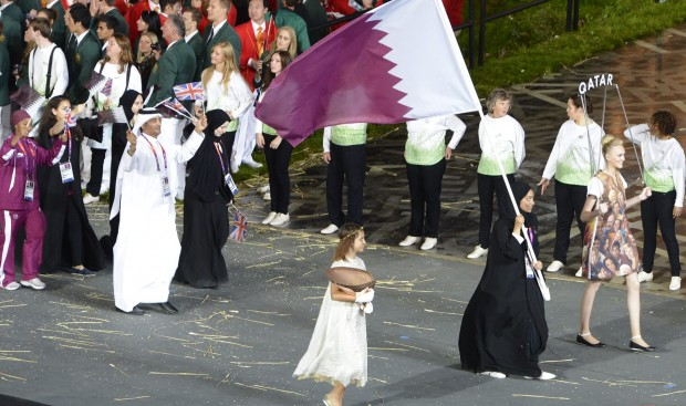 Bahiya Al-Hamad was one of four women in Qatar's team for London 2012 and carried the country's flag at the Opening Ceremony ©Getty Images